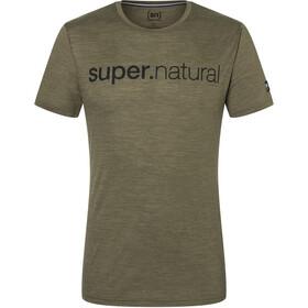 super.natural Signature Tee Men, olive night melange/jet black